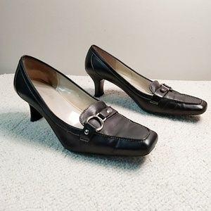 Anne Klein iFlex Black Loafer Heels Shoes 9M